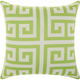 Mina Victory Greek Key Poly Apple Green Outdoor Throw Pillow