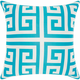 Mina Victory Greek Key Poly Turquoise Outdoor Throw Pillow