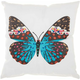 Mina Victory Turquoise Butterfly White Outdoor Throw Pillow