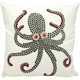 Mina Victory Beaded Octopus White Outdoor Throw Pillow