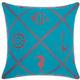 Mina Victory Nautical Diamonds Turqois Green Outdoor Throw Pillow