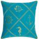 Mina Victory Nautical Diamonds Turquoise/Coral Outdoor Throw Pillow
