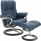 Stressless Mayfair Medium Leather Reclining Chair and Ottoman