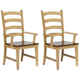 Brook Ladder Back Dining Arm Chair: Set of 2
