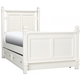 Varsity Twin Post Bed w/ Trundle - White