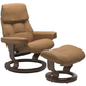 Stressless Ruby Small Classic Leather Reclining Chair and Ottoman