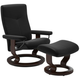 Stressless Dover Small Classic Leather Reclining Chair and Ottoman