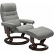 Stressless Opal Medium Classic Reclining Chair and Ottoman