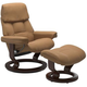 Stressless Ruby Medium Classic Leather Reclining Chair and Ottoman