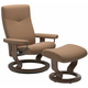 Stressless Dover Medium Classic Leather Reclining Chair and Ottoman