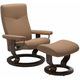 Stressless Dover Large Classic Leather Reclining Chair and Ottoman