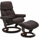 Stressless Ruby Large Classic Leather Reclining Chair and Ottoman