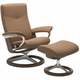 Stressless Dover Large Signature Leather Reclining Chair and Ottoman
