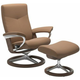 Stressless Dover Medium Signature Leather Reclining Chair and Ottoman