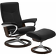Stressless Dover Small Signature Leather Reclining Chair and Ottoman