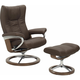 Stressless Wing Medium Signature Leather Reclining Chair and Ottoman