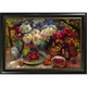 Fruits and Flowers on Table Framed Canvas Wall Art