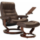 Stressless Opal Large Leather Reclining Chair and Ottoman w/ Table