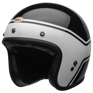 Motodak Helm Bell Custom 500 DLX ace Cafe 59 Gloss Black//White Gr/ö/ße L