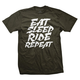 Dhdwear Eat Sleep Ride Repeat T-Shirt Men's Size Extra Large in Black