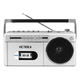 Victrola Mini Bluetooth Boombox with Cassette Player, Recorder and AM/FM Radio (Silver)