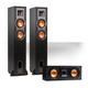 Klipsch R-24F Reference Floorstanding Speaker Pair with R-25C Center Speaker (Black)
