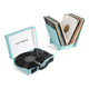 Victrola Journey+ Bluetooth Suitcase Record Player with Matching Record Stand (Turquoise)