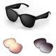 Bose Soprano Cat-Eye Bluetooth Audio Sunglass Frames with Two Replacement Lenses (Mirrored Rose Gold and Purple Fade)