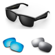 Bose Tenor Rectangular Bluetooth Audio Sunglass Frames with Two Replacement Lenses (Mirrored Blue and Mirrored Silver)