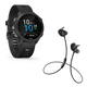 Garmin Forerunner 245 Music GPS Smartwatch with Bose SoundSport Wireless Earbuds (Black)