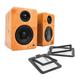 Kanto YU2 Powered Bookshelf Speakers and S2 Desktop Speaker Stands - Pair (Bamboo/Black)