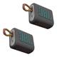 JBL GO 3 Portable Bluetooth Waterproof Speakers - Pair (Grey)