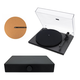 Andover Audio Spindeck Plug-and-Play Turntable with Speaker System and 12 Cork Turntable Slipmat - Black