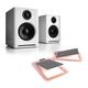 Audioengine A2+ Premium Powered Wireless Desktop Speakers with S4 Desktop Speaker Stands - Pair (Copper)