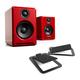 Audioengine A2+ Premium Powered Wireless Desktop Speakers with S4 Desktop Speaker Stands - Pair (Black)