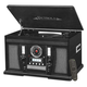 Victrola Aviator 8-in-1 Bluetooth Turntable & Multimedia Center with Built-in Stereo Speakers (Black)