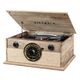 Victrola 4-in-1 Cambridge Farmhouse Modern Bluetooth Turntable with FM Radio (Factory Certified Refurbished, Farmhouse Oatmeal)
