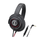 AudioTechnica ATH-WS770iS   Solid Bass Over-Ear Headphones with In-line Mic & Control (Black/Red)