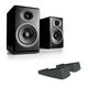 Audioengine P4 Premium Passive Bookshelf Speakers (Black) with DS2 Desktop Speaker Stands (Black)