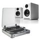 AudioTechnica AT-LP60 Fully Automatic Stereo 2-Speed Turntable System (Silver) with Audioengine A2+ Premium Powered Desk