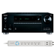 Onkyo TX-RZ710 7.2 Channel A/V Wireless Network Receiver with HDCP 2.2/HDR & Bluetooth and 6-Outlet Floor Power Strip wi