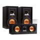 Klipsch R-15M Reference Bookshelf Monitor Speaker Pair with R-25C Center Speaker (Black)