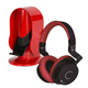 Cleer Audio DU Wireless Bluetooth HD Dual-Driver Headphones wiht Heads Up Base Stand (Red)