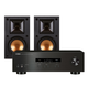 Yamaha R-S202 Bluetooth Stereo Receiver with Klipsch R-14M Reference Monitor Speaker - Pair (Black)