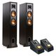 Klipsch R-26F Reference Floorstanding Speakers with R-14SA Dolby Atmos Speakers - Pair (Black)