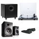 U-Turn Audio Orbit Plus Turntable With Built-In Preamplifier Audioengine A5+ With Bookshelf AND Stands S8 Premium Powered Speakers, Black