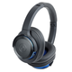 AudioTechnica ATH-WS660BT Solid Bass Wireless Over-Ear Headphones with Built-In Microphone and Remote (Blue/Black)