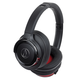 AudioTechnica ATH-WS660BT Solid Bass Wireless Over-Ear Headphones with Built-In Microphone and Remote (Red/Black)