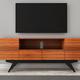Furnitech 78 FT78PF Stunning Mid-Century TV Stand Media Console (Iron Wood)