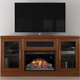 Furnitech 70 FT70TRFB Electric Fireplace TV Stand (Light Cherry)